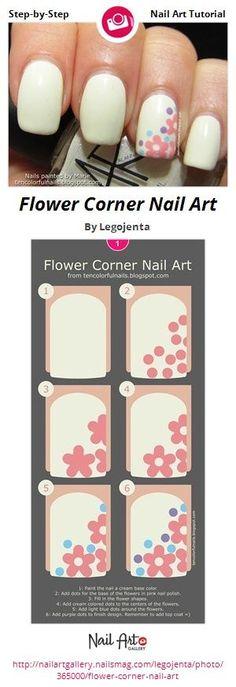 Flower Corner Nail Art by Legojenta from Nail Art Gallery