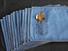 Twelve Vintage Denim Placemats Blue Jean Fabric, BBQ Roundup Party Decor, Rustic Cowboy Decor, One Dozen Table Linens by CactusWrenVintage on Etsy