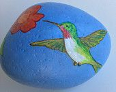 Hummingbird with trumpet vine painted rock paperweight
