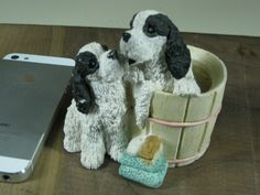 Black and White cocker spaniels in a tub by Stone Critters. $13.50