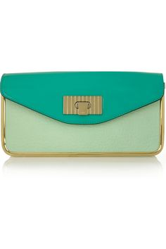 mint green patent-leather clutch