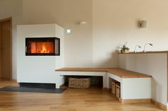 Tiled stove, modern tiled stove in Achim near Bremen Modern Fireplace, Living Room With Fireplace, Living Room Decor, Bedroom Decor, Stove Fireplace, Piece A Vivre, Interior Design Living Room, Sweet Home, Home Decor