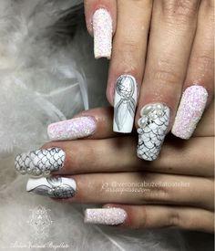 Unhas de sereia - Unhas decoradas de sereia Mermaid Nails, Nail Art Designs, Hair Beauty, My Style, Outfits, Short Nails Art, Edgy Nail Art, Little Mermaid Nails, Nails
