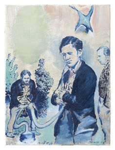 neo rauch _ At the Well » David Zwirner_ Sauger, 2014 Oil on canvas 15 5/8 x 11 5/8 inches (39.5 x 29.5 cm)