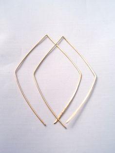 Gold Diamond Open Hoop earrings, open hoop earrings, large gold hoop earrings, diamond shape earrings, geometric earrings, modern hoops