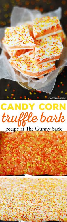 If you like candy corn, you are going to love this Candy Corn Truffle Bark recipe! The truffle center is smooth and fudge-like and perfect for fall parties.