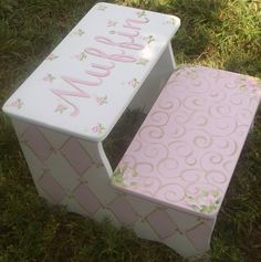 Wood Custom Step Stool PINK GOLD STEPSTOOL Baby Bedding Home and Living Bathroom Kids Furniture and Decor