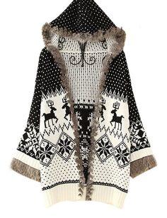 $29.99 nice Pink Queen Womans Girls Reindeer Snow Flake Hoodies Sweater Coat Christmas Cardigan
