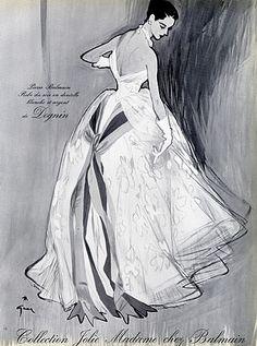 Pierre Balmain 1952 René Gruau, Evening Gown by René Gruau | Hprints.com