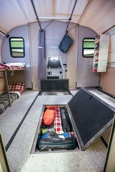 AWOL Outdoors Camp365 interior Toy Hauler Camper, Pickup Camper, Airstream Trailers For Sale, Camper Trailers, Lightweight Camping Trailers, Small Camping Trailers, Jeep Wrangler Camping, R Pod, Small Trailer