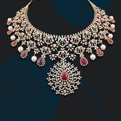 Bridal Necklace Set, Diamond Necklace Set, Diamond Jewellery, Emerald Necklace, Wedding Jewellery Designs, Wedding Jewelry, Jewelry Design, Diamond Wedding Sets, Gold Jewelry Simple