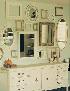 """Variation of size, shape, style, and material contribute to a """"shabby chic"""" look that would be amazing in a country home or cottage."""
