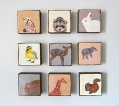 Nursery Art Block 5x5 Nine 9 Set Animals Geometric Collection Child Decor Baby  5x5 Geometric redtilestudio wood. $250.00, via Etsy.