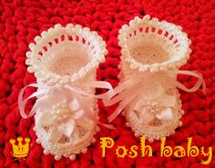 Baptism crocheted cotton booties with beads