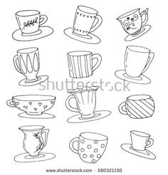 Cup pattern. Hand drawn vector stock illustration.