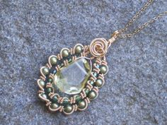 Golden wire wrapped necklace with citrine green by sparklegem