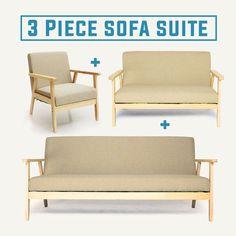 Linen Fabric Scandinavian Sofa Lounge Suite White Oak Sofa Set French Beige