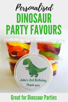Personalised Dinosaur Party Favors | Dinosaur Party Bags | Tubs to fill with sweet treats for kids parties | Great for Dinosaur parties Superhero Party Favors, Dinosaur Party Favors, Dinosaur Birthday, Diy Party, Party Fun, Kids Party Themes, Kid Parties, Woodland Party, Woodland Wedding