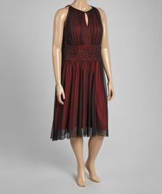 Look what I found on #zulily! Black & Red Sleeveless Dress - Plus by Jessica Howard #zulilyfinds