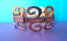 aztec RENOIR Copper BRACELET Stunning Vintage Signed Matisse geometric wide Jewelry