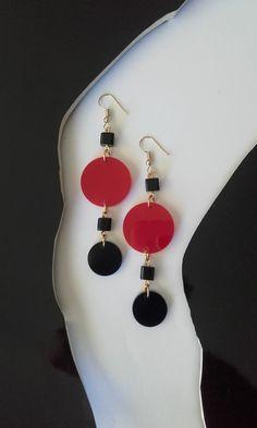 Dangle & drop earrings with plexiglas elements and glass beads / Modern style earrings / Minimal earrings Minimalism, Glass Beads, Dangles, Drop Earrings, Modern, Shop, Handmade, Etsy, Jewelry