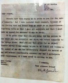 The letter that Gandhi sent to Adolf Hitler in 1939.