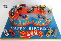 Nothing completes a Hot Wheels themed birthday party like a Hot Wheels cake. If your little racer is into Hot Wheels, then a Hot Wheels b. Hot Wheels Party, Bolo Hot Wheels, Hot Wheels Cake, Festa Hot Wheels, Hot Wheels Birthday, Race Car Birthday, Themed Birthday Cakes, Birthday Boys, Happy Birthday Leo