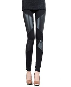 Black Leggings with leather (look) added
