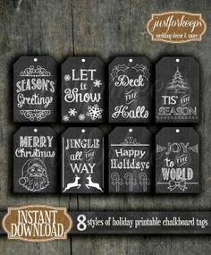 Printable Chalkboard Christmas Tags Instant Download DIY ... | packag…