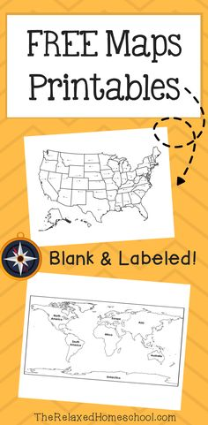 Free Map Printable! This set includes maps that are labeled as well as blank maps. Great for map practice!