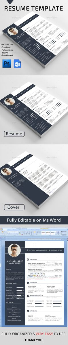 Resume Template PSD #design Download: http://graphicriver.net/item/resume/13384985?ref=ksioks