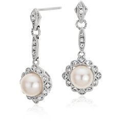 Blue Nile Vintage-Inspired Freshwater Cultured Pearl Earrings (2 270 UAH) ❤ liked on Polyvore featuring jewelry, earrings, cultured pearl earrings, earrings jewellery, blue nile, cultured pearl jewelry and blue nile jewelry