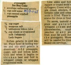 Pineapple Ice Box Cake - Historic Recipe - Collections hosted by the Milwaukee Public Library Retro Recipes, Old Recipes, Vintage Recipes, Cooking Recipes, Frozen Desserts, No Bake Desserts, Delicious Desserts, Dessert Recipes, Candy Cakes