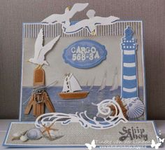 Card made by DT member Tineke with among others Craftables Tiny's folding dies - wave (CR1276), Tiny's folding dies - seagulls (CR1277) and Tiny's ocean set (CR1279) by Marianne Design.