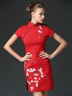 Red Embroidery Cotton Qipao / Cheongsam Dress