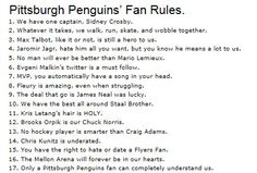 Pittsburgh Penguins' Fan Rules.