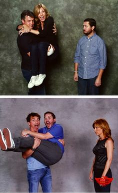 After Nathan Fillion swept Wil [Wheaton]'s wife off her feet, John Barrowman thought he would even the score. Nerd Love, My Love, Wil Wheaton, John Barrowman, Nathan Fillion, Captain Jack, Geek Out, Geek Culture, Superwholock