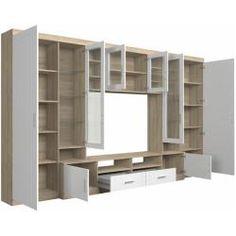 de unit design With Shelves Zimmereinrichtungen Tv Unit Furniture, Living Room Furniture, Home Furniture, Furniture Design, Tv Wall Design, Tv Unit Design, Bed Design, Rack Tv Sala, Tv Unit Bedroom