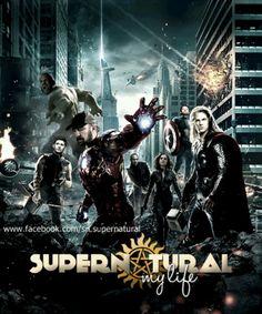 Avengers Supernatural    Starring:  Thor- Sam Winchester  Iron Man- Bobby Singer  Hawkeye- Dean Winchester  Captain America- Castiel  Black Widow- Meg  Nick Fury- Rufus  Hulk- Benny