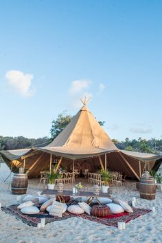 Go-to tips for a tipi wedding with Straddie Tipis (plus a gorgeous styled shoot With many couples opting to host their reception in these beauties, we turned to the experts for a little need-to-know advice. Wedding Venues Beach, Tipi Wedding, Marquee Wedding, Wedding On The Beach, Wedding Shoot, Glamping Weddings, Outdoor Weddings, Destination Weddings, Festival Themed Wedding