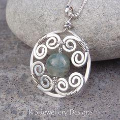 MISTY SWIRLS  Natural Aquamarine Spiral Circle Frame Sterling Silver Pendant