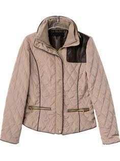 Apricot Long Sleeve Zipper Elbow Patch Coat - Sheinside.com