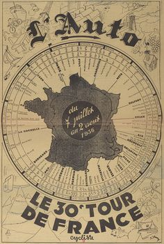 Poster for the 1936 Tour de France in the days when the race literally did go right around the country. Bike Illustration, Bike Poster, Bike Photo, Bicycle Race, Cycling Art, Bike Art, France Travel, Travel Posters, Retro