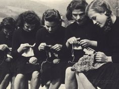 Young Women Knitting Photographic Print