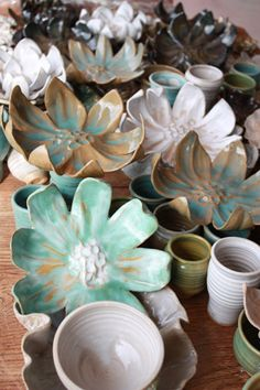 Handcrafted pottery, flower plates (perfect for spring).  By Melissa Z Monroe, Frankfort Fall Festival 2012 Featured Artist  **Love It**