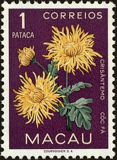 Stamp: Chrysanthemum (Macau) (Flora) Mi:MO 401,Sn:MO 379,Sg:MO 465,Afi:MO 381 Old Stamps, Vintage Stamps, Postage Stamp Design, Note Doodles, Pop Stickers, Journal Stickers, Aesthetic Stickers, Tampons, Stamp Collecting