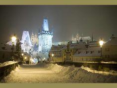 Charles bridge in snowy winter. Prague