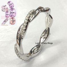 $368 Diamond Wedding Band Full Eternity Anniversary Ring 14K White Gold,Twist Unique #LOGR
