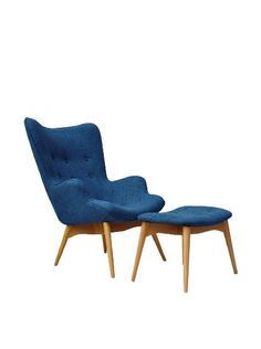International Design USA Huggy Chair & Ottoman Set, Blue at MYHABIT