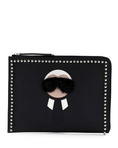 b092c2c41396 Fendi Karlito Large Zip-Around Pouch Bag